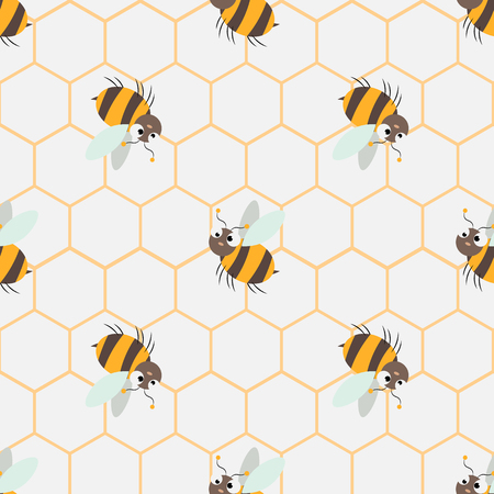 Abstract honey print. seamless pattern with Cute cartoon Bee and honeycomb 10 eps