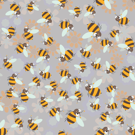 Sweet honey print. Cute cartoon Bee and honeycomb seamless pattern 10 eps Illustration