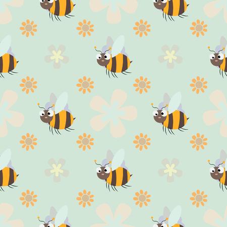 honey print. Cute cartoon Bee and flower Seamless pattern 10 eps Illustration