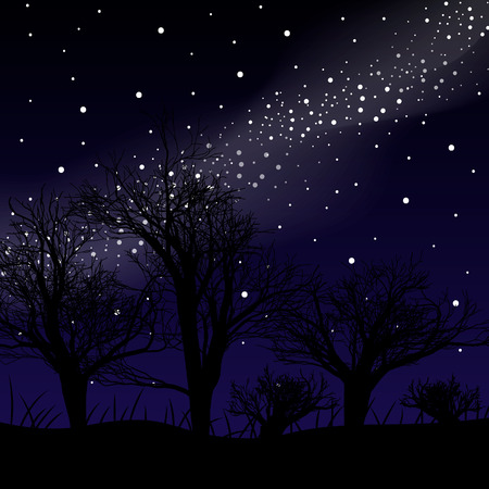 Blue dark night sky with many stars above field of trees. Milky way cosmos background. 10 eps