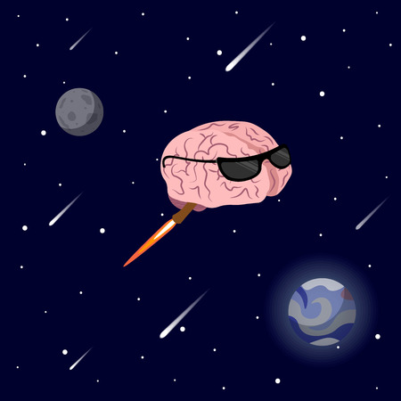 Vector illustration of pink color smile brain with glasses flying in space. Flat style design of character brain 10 eps Illustration