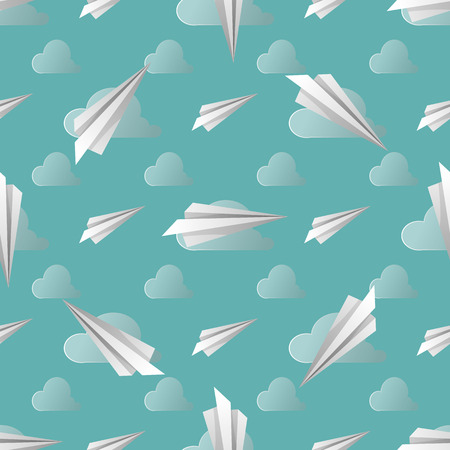 Seamless pattern with paper planes. Vector illustration. Soft colors. 10 eps