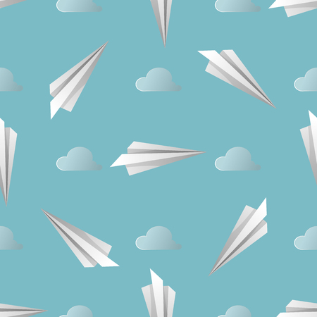 Vector Blue Seamless Background. Pattern of Paper Origami Planes on Sky Blue Background. 10 eps