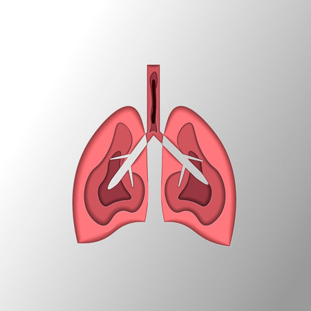 Medical illustration of the lungs and lung disease in the style of paper cut 10 eps Illustration