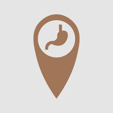 point location depicting the stomach. Medical element 10 eps