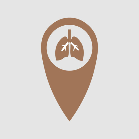 Point of location with the image of the lungs. Medical element 10 eps