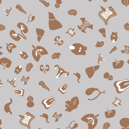 Seamless pattern with Flat icons of the human organs. Medical elements 10 eps