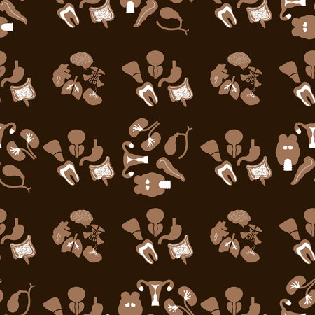 Medical Seamless pattern. Flat icons of the human organs. 10 eps
