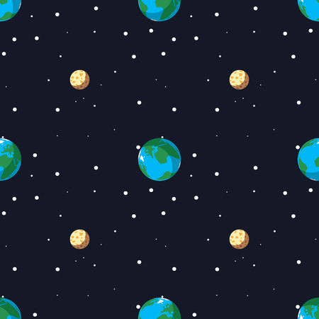 Seamless pattern with the planet earth and moon 10 eps