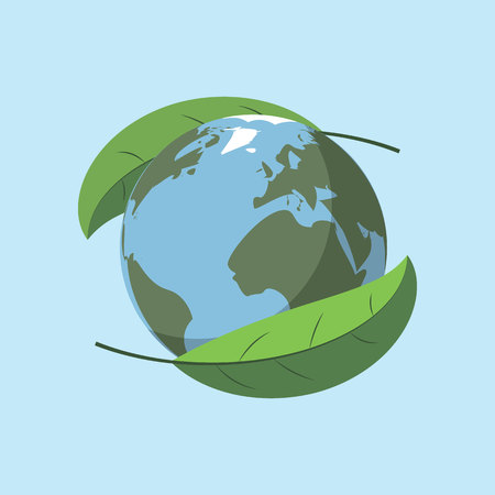 Earth day with world and green leaves background 10 eps