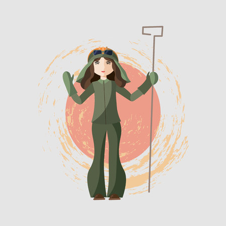 Vector Metallurgical industry. girl steel maker Flat style colorful Cartoon illustration
