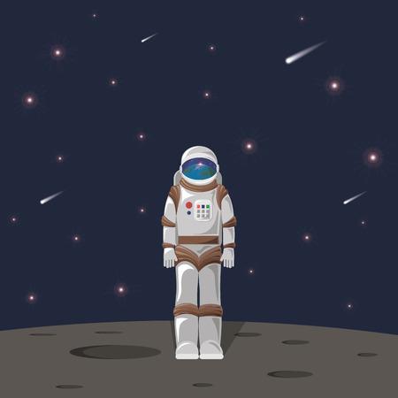 cosmonaut on moon with reflection of planet earth