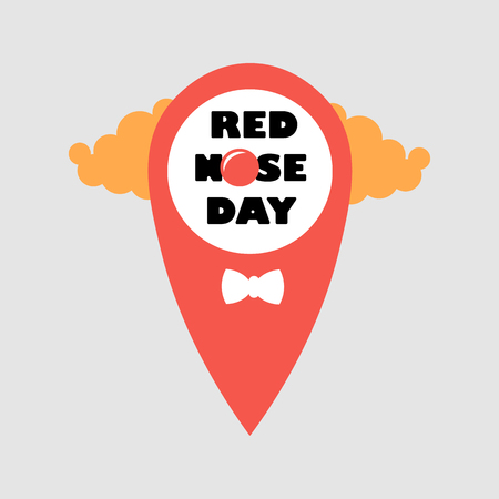 Card of red nose day location point.. Vector illustration. Red Nose Day Abstract Vector Sign, Emblem, or Banner. Isolated. Illustration