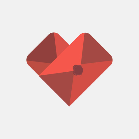 Envelope heart shaped mail icon design template. Colorful sign. May be used in medical, dating, Valentines Day and wedding design. Ilustrace