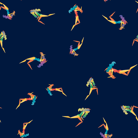 Vector abstract seamless pattern with dancing girls 10 eps