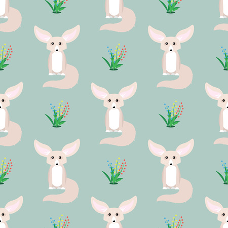 Animal seamless pattern. Small cute fennec with big ears. 10 eps