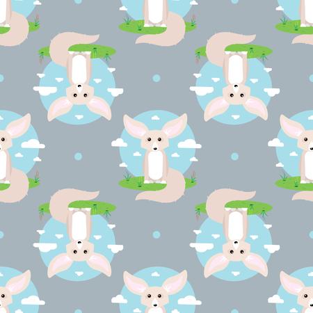 abstract vector seamless pattern with fennec fox 10 eps Illusztráció