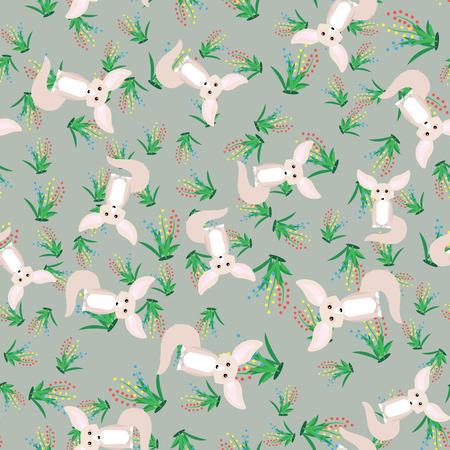 Animal print. cute fennec fox seamless pattern 10 eps Illusztráció