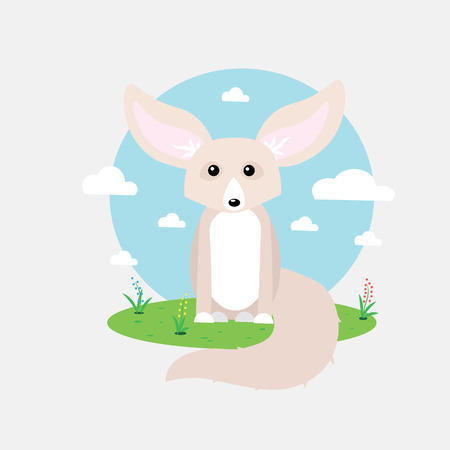 Small cute fennec with big ears vector illustration 10 eps