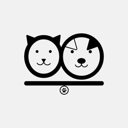Cat and dog. Pet shop logo template in vector. Animal shelter emblem, label design elements for zoo shop. Logos