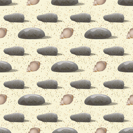 Vector pebbles and shell of hermit crab seamless pattern. Sea print Ilustrace