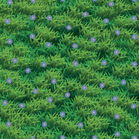 Abstract vector grass and flower texture. Green grass seamless pattern