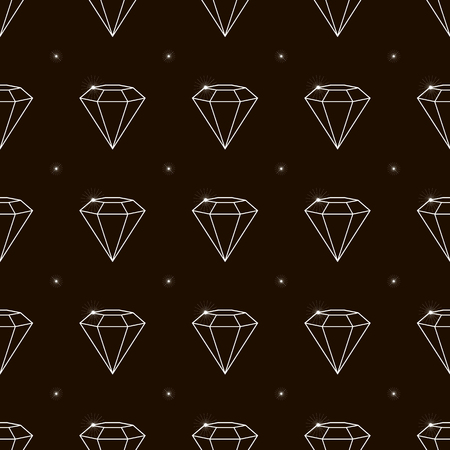 Outline Seamless pattern jewelry with precious stones, diamonds, vector illustration Ilustrace