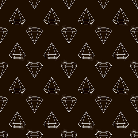 Outline Vector seamless retro pattern, with diamonds. Ilustrace