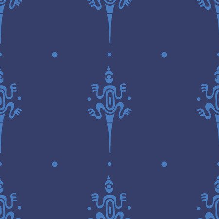 Vector vintage seamless ethnic pattern image lizards in Maori style 10 eps