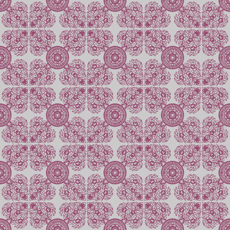 Red vector abstract seamless pattern with floral Thailand Ethnic ornaments 10 eps