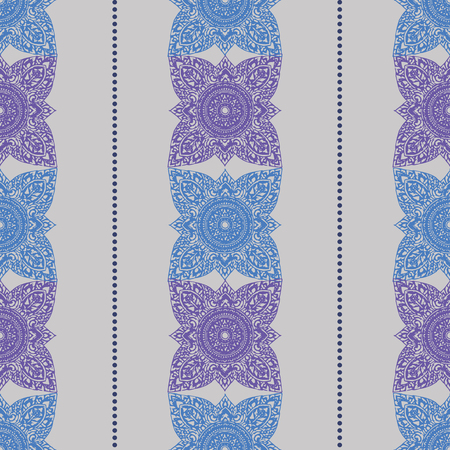 Vector vertical colored seamless patterns with Thailand Ethnic ornaments and dots line 10 eps