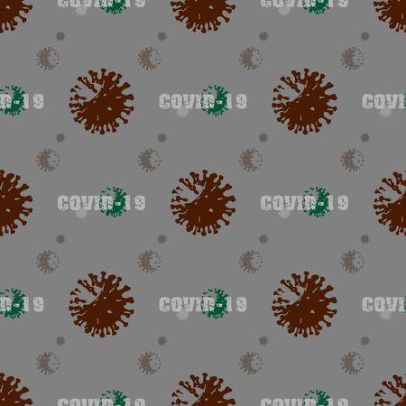 Coronavirus COVID-19 cells seamless pattern vector illustration. Virus bacteria background
