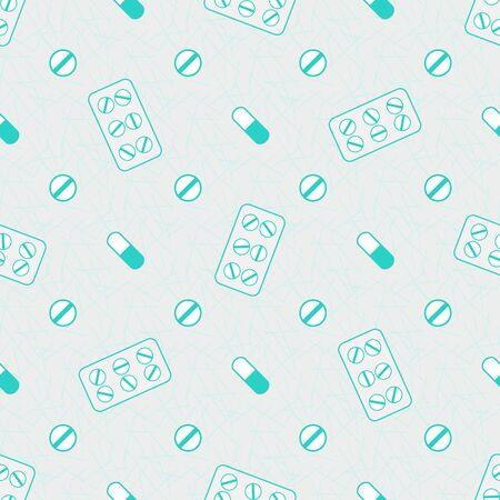 mint green colored flat medicine vector illustration, pills seamless pattern Ilustracja