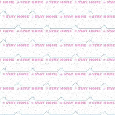 Stay at home - self isolation to prevent spreading coronavirus. Text Quarantine seamless pattern.