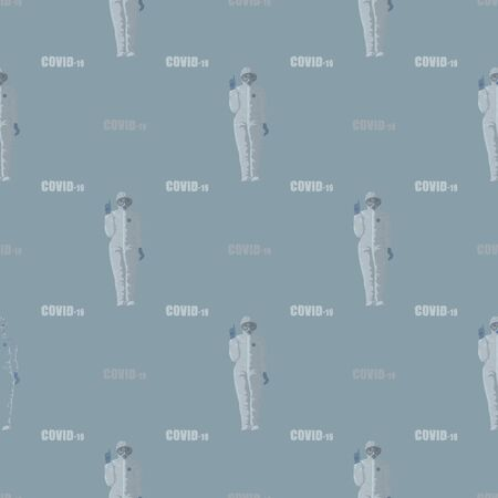 virus COVID-19 coronavirus. Doctor in a protective suit and text COVID-19 , seamless pattern