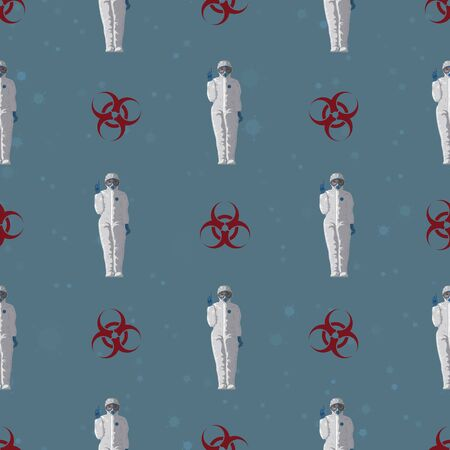Seamless pattern virus COVID-19 coronavirus. Doctor in a protective suit against the background of the biohazard sign, Ilustracja