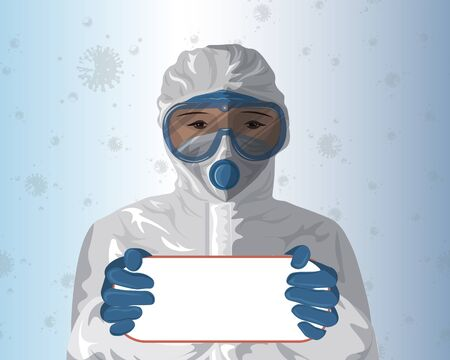 The doctor in a protective suit holds a sign in your hands for your text. virus COVID-19 coronavirus Zdjęcie Seryjne - 144141756
