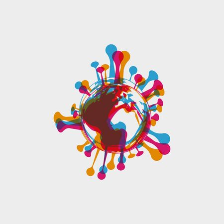 stereo effect of a bacterium virus in the shape of a globe. Earth in the form of bacteria Coronavirus COVID-19 . Virus bacteria Virus Covid 19-NCP