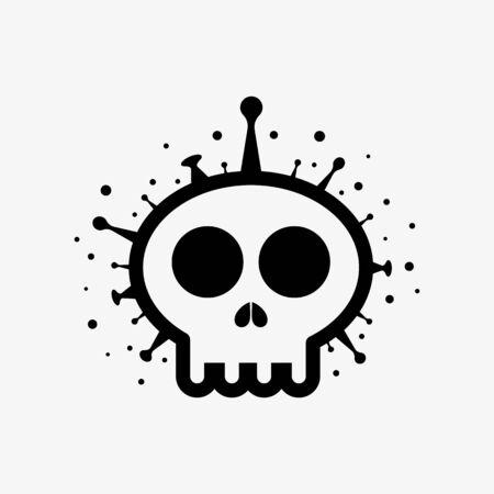 Skull shape Covid-19 coronavirus. Covid 19-NCP Vector illustration deadly virus Coronavirus SARS-CoV-2 Ilustracja