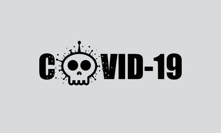 text with Skull shape Covid-19 coronavirus. Vector illustration deadly virus Coronavirus SARS-CoV-2 Zdjęcie Seryjne - 144218758