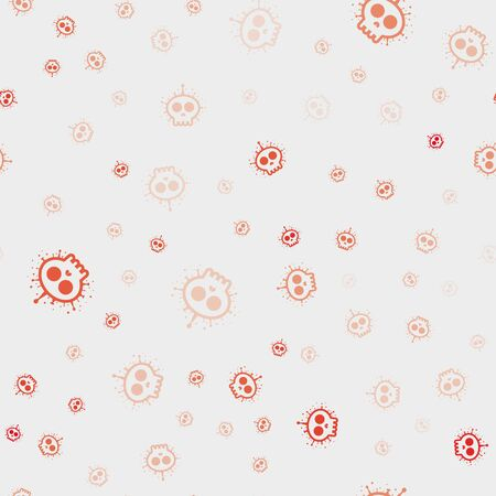 deadly virus Coronavirus SARS-CoV-2. Red Skull shape Covid-19 coronavirus. Vector seamless pattern Ilustracja