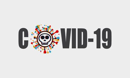text with stereo effect Skull shape Covid-19 coronavirus.