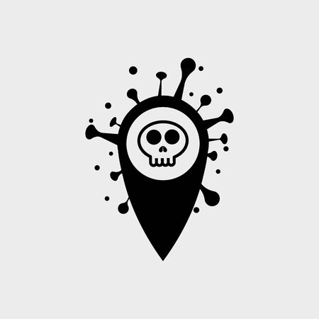 location point Coronavirus COVID-19 in the shape of a Skull . Virus bacteria Coronavirus nCoV, map pin locator deadly virus Ilustracja
