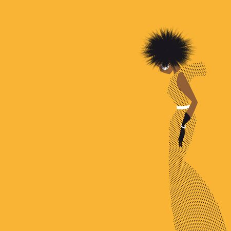 Abstract silhouette of an African woman with curly hair in a long yellow dress with black polka dots 10 eps
