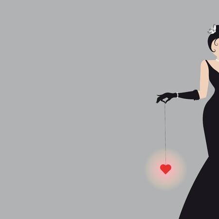 fashion Abstract silhouette of an woman in a long black dress and heart 10 eps