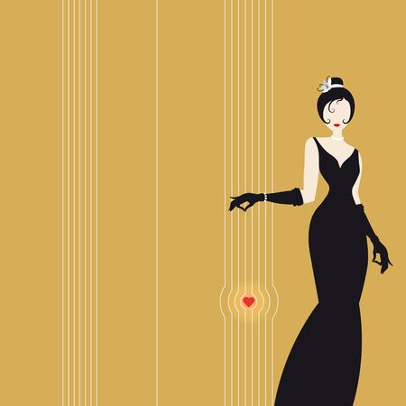 Cute girl on yellow background, fashion silhouette of an woman in a long black dress and heart