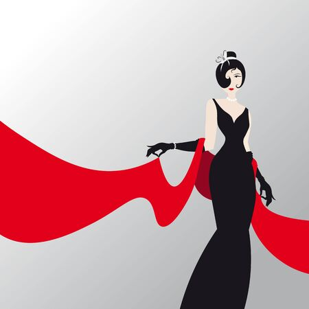 Cute girl with red shawl , fashion silhouette of an woman in a long black dress and red palantine Ilustracja