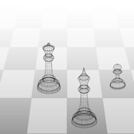 3d frame illustration chess pieces king, queen and pawn on a chessboard in perspective