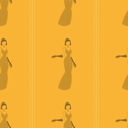 seamless pattern with silhouette of an woman in a long yellow dress with black polka dots Zdjęcie Seryjne - 144843682