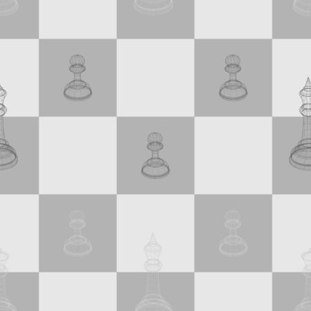 Seamless pattern 3d vector image of chess pieces king, queen and pawn on a chessboard 10 eps